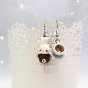 Kawaii bunny and bear dango earrings