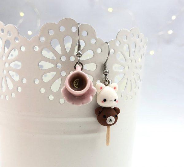 kawaii cat and bear dango earrings